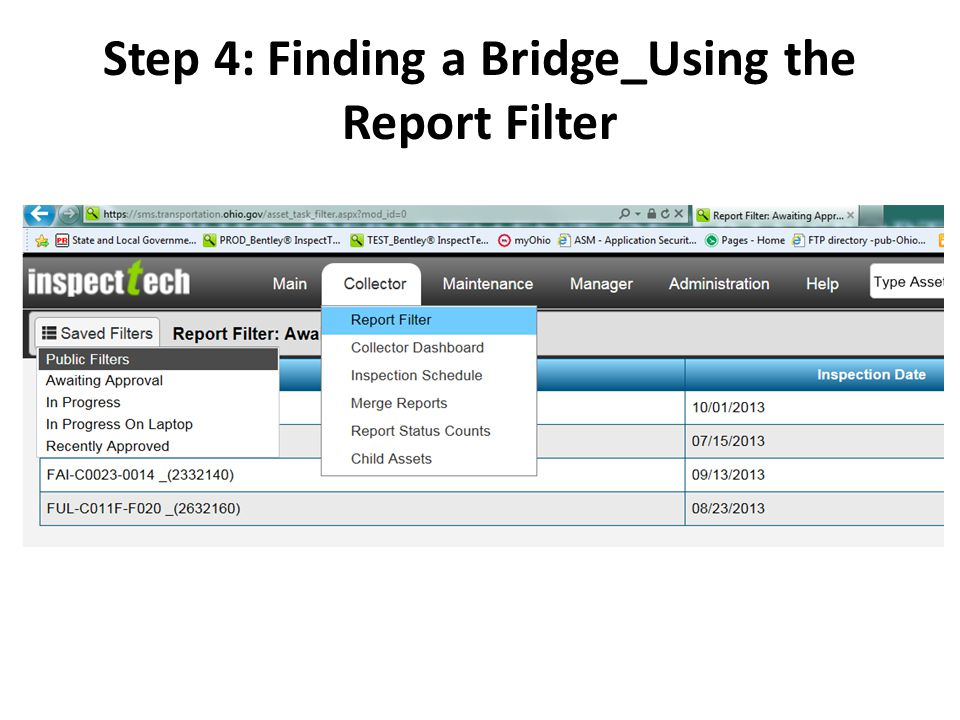 Step 4: Finding a Bridge_Using the Report Filter