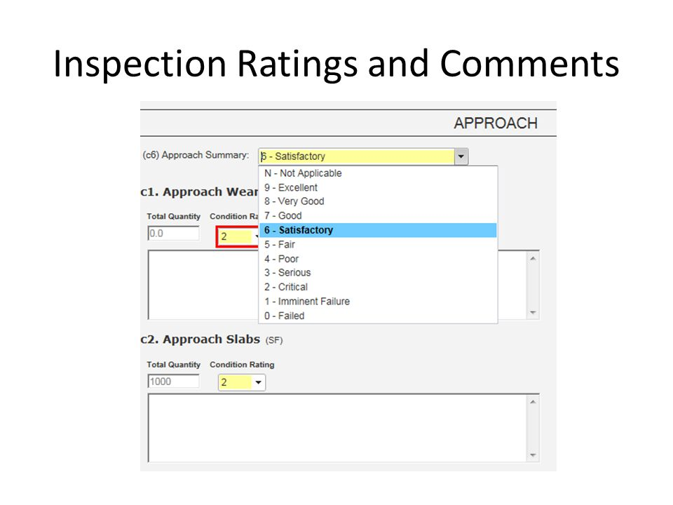Inspection Ratings and Comments