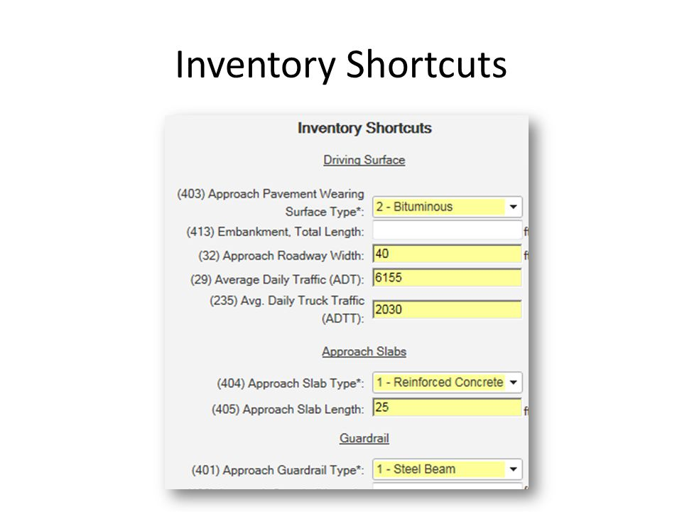 Inventory Shortcuts