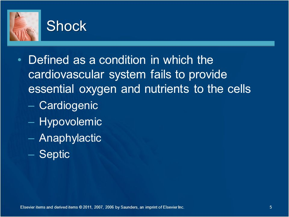 Shock Defined as a condition in which the cardiovascular system fails to provide essential oxygen and nutrients to the cells.