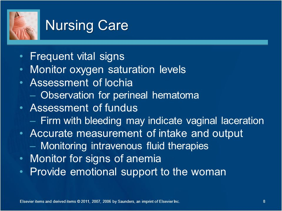 Nursing Care Frequent vital signs Monitor oxygen saturation levels