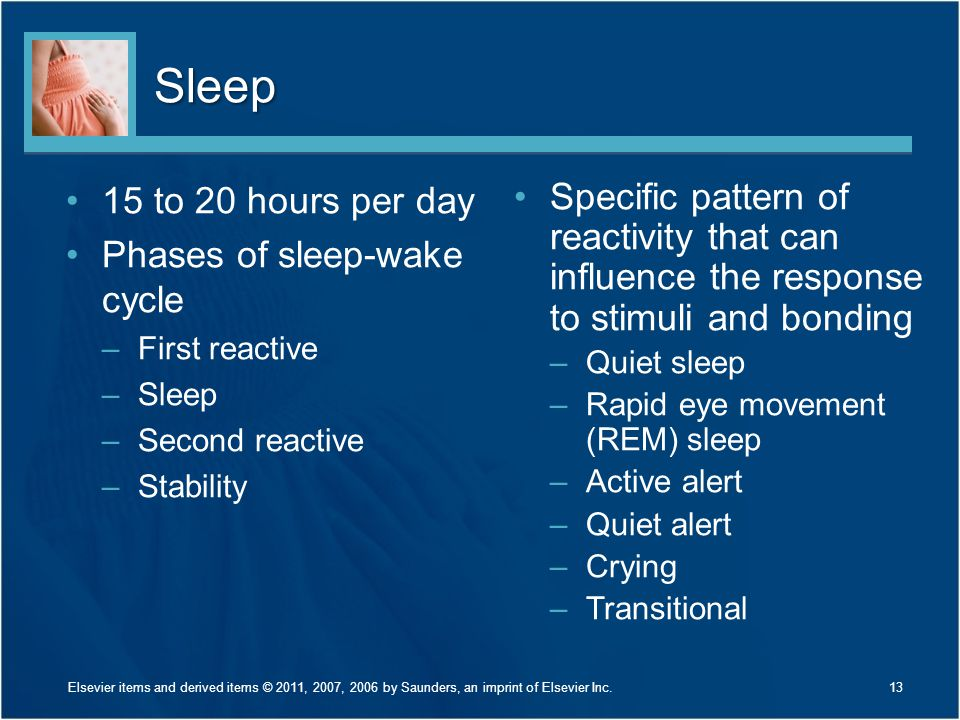 Sleep 15 to 20 hours per day Phases of sleep-wake cycle