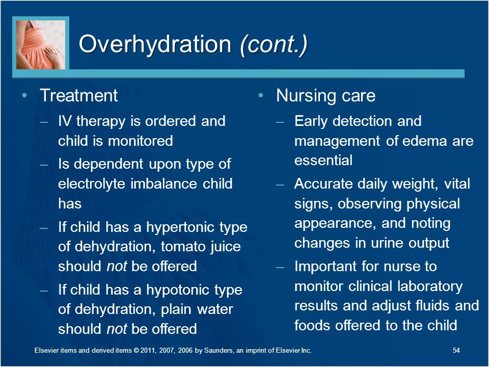 Overhydration (cont.) Treatment Nursing care