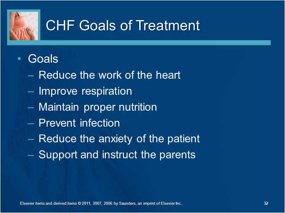 CHF Goals of Treatment Goals Reduce the work of the heart