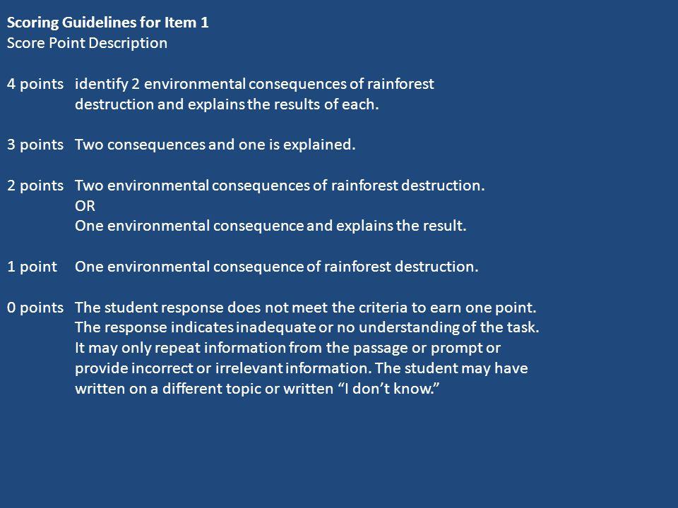 Scoring Guidelines for Item 1