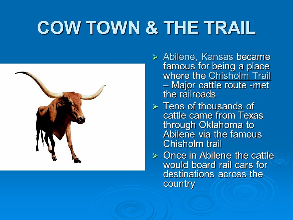 COW TOWN & THE TRAIL Abilene, Kansas became famous for being a place where the Chisholm Trail – Major cattle route -met the railroads.