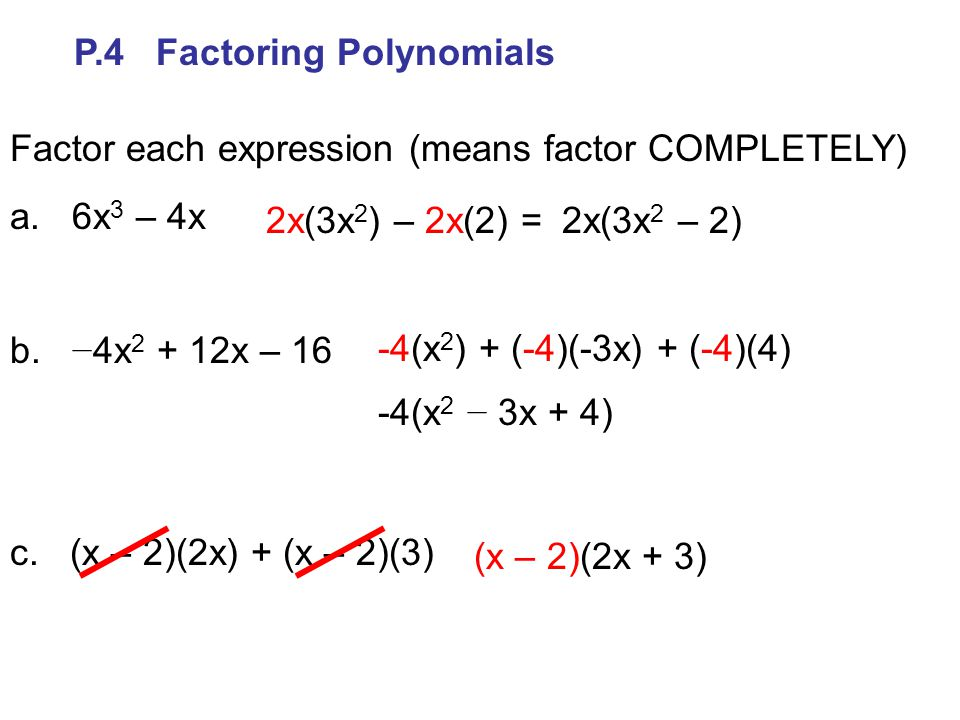 P.4 Factoring Polynomials