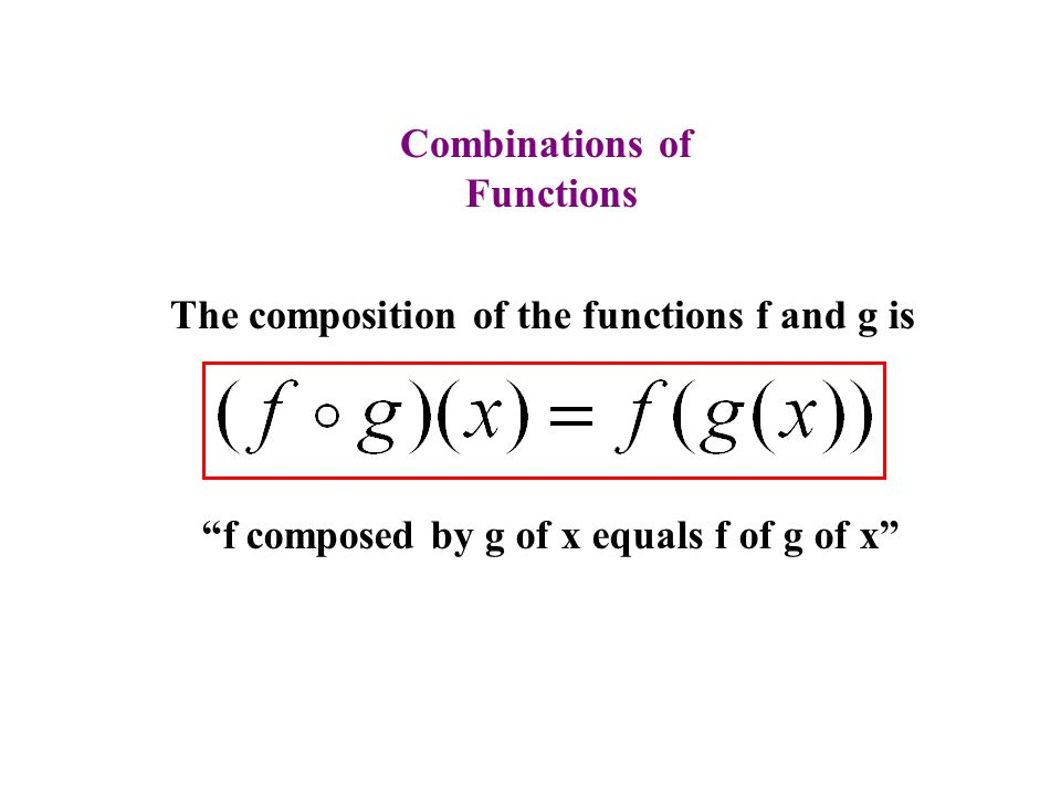 Combinations of Functions. The composition of the functions f and g is.