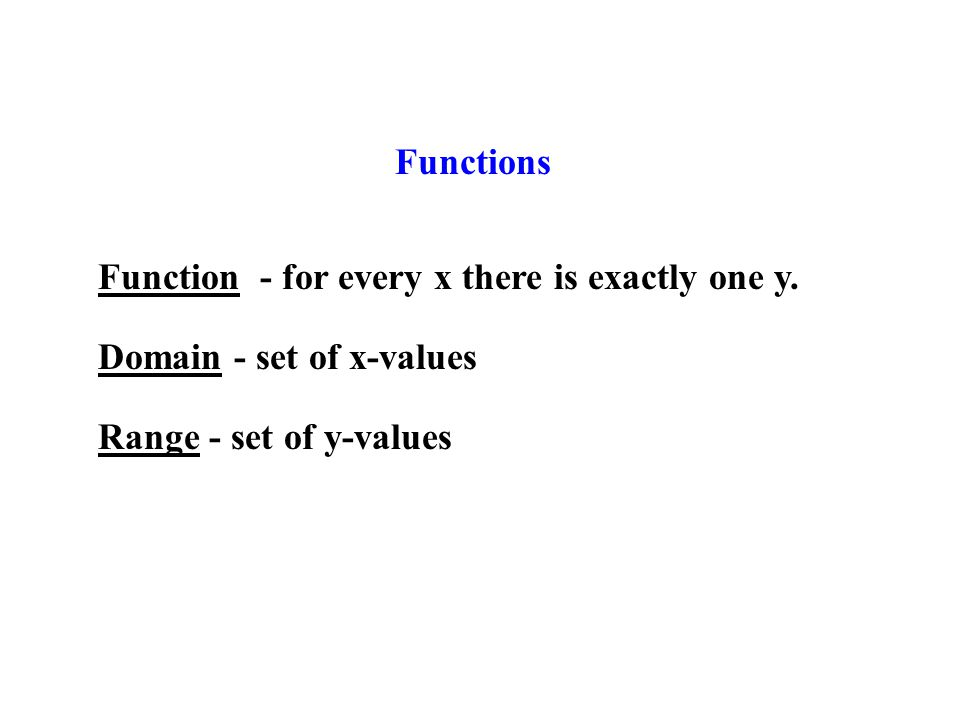 Functions Function - for every x there is exactly one y.