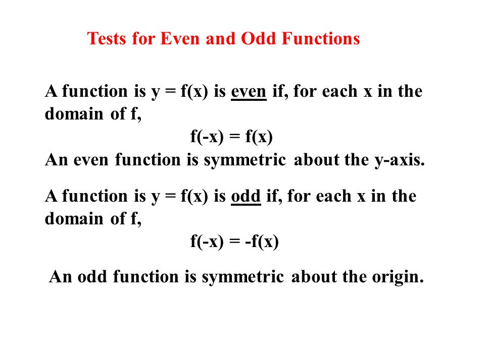 Tests for Even and Odd Functions