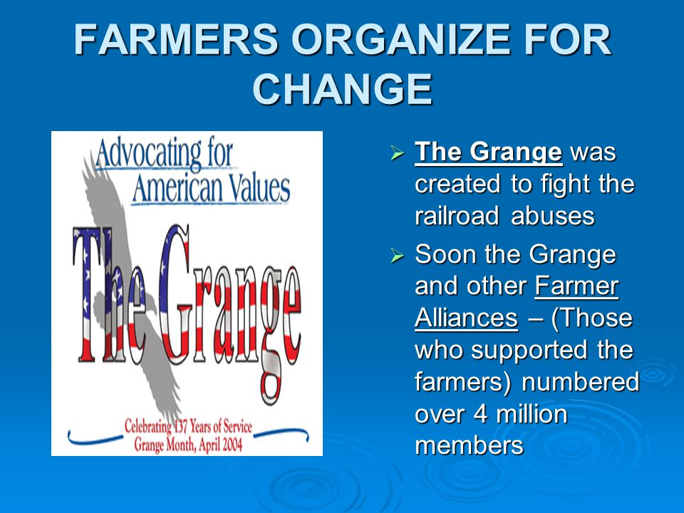 FARMERS ORGANIZE FOR CHANGE