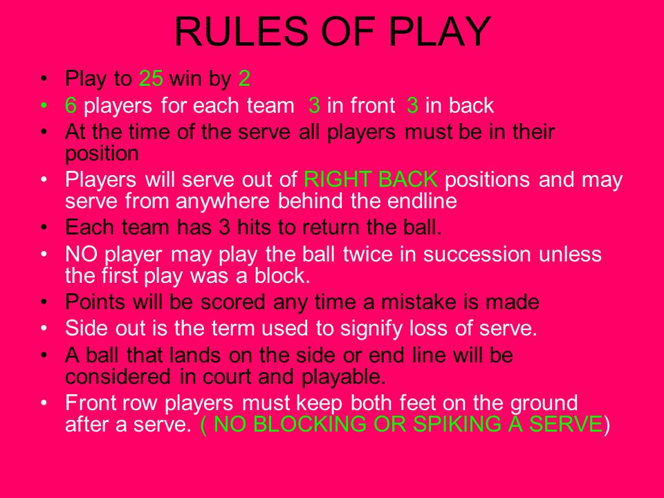 RULES OF PLAY Play to 25 win by 2