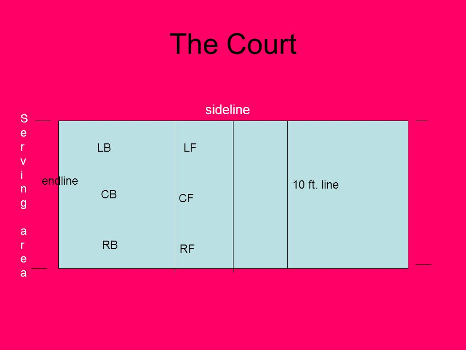 The Court sideline Serving area LB LF endline 10 ft. line CB CF RB RF