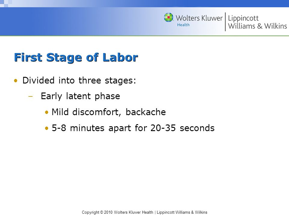 First Stage of Labor Divided into three stages: Early latent phase