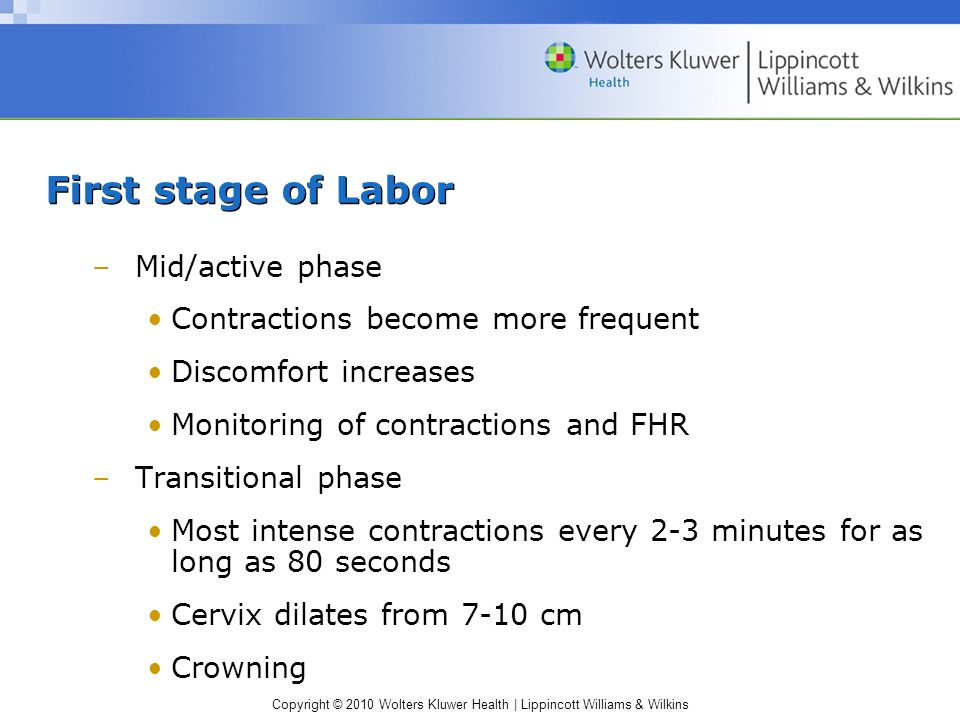 First stage of Labor Mid/active phase