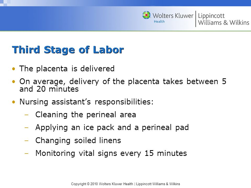 Third Stage of Labor The placenta is delivered