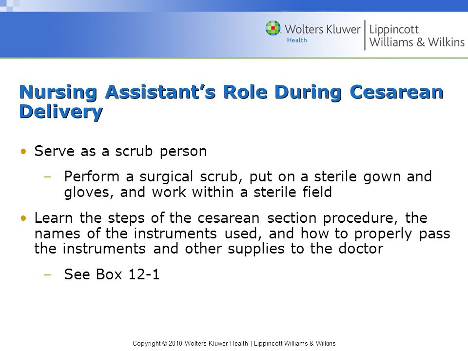 Nursing Assistant's Role During Cesarean Delivery