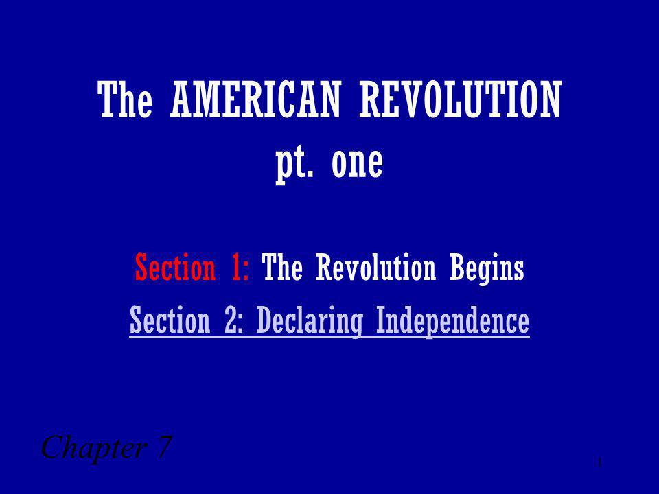 The AMERICAN REVOLUTION pt. one
