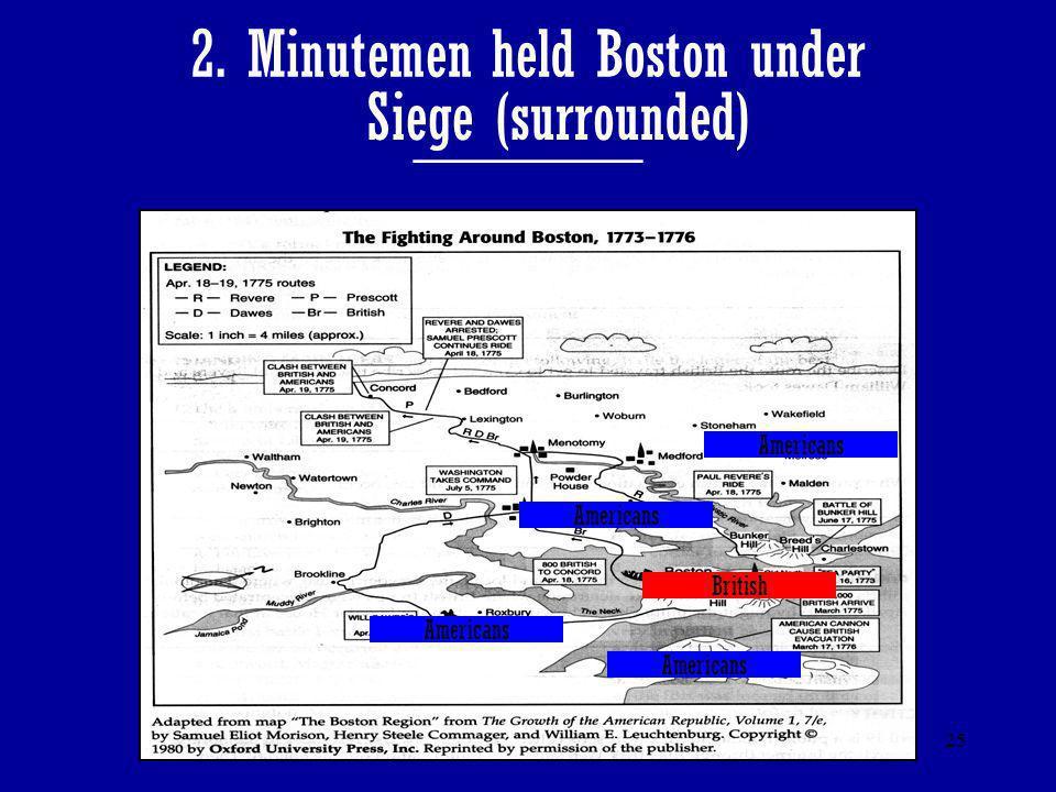 2. Minutemen held Boston under _______
