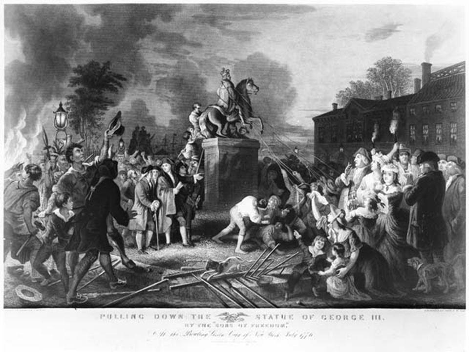 Destroying the statue of King George III