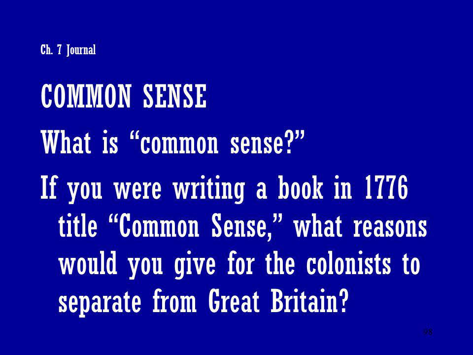 COMMON SENSE What is common sense