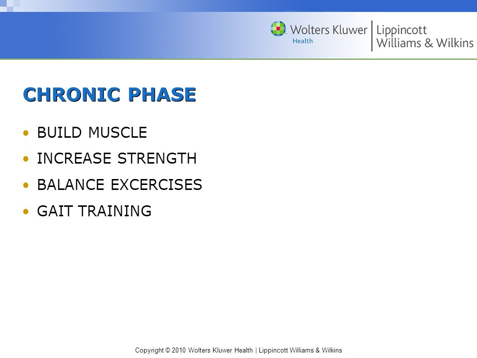 CHRONIC PHASE BUILD MUSCLE INCREASE STRENGTH BALANCE EXCERCISES