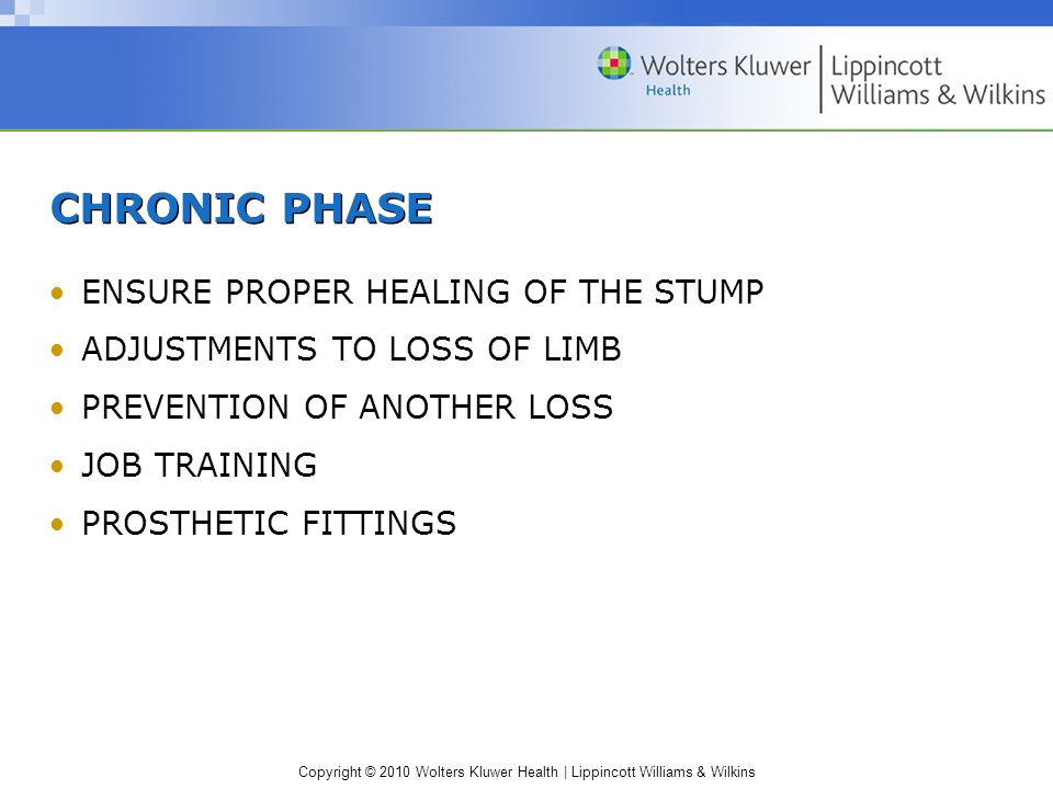 CHRONIC PHASE ENSURE PROPER HEALING OF THE STUMP
