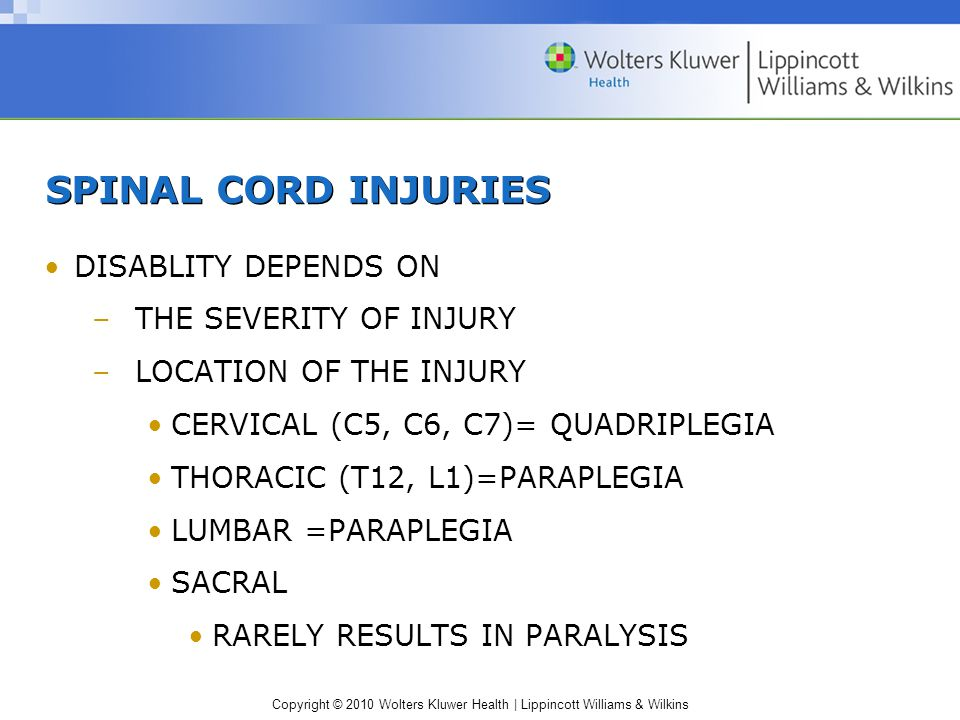 SPINAL CORD INJURIES DISABLITY DEPENDS ON THE SEVERITY OF INJURY