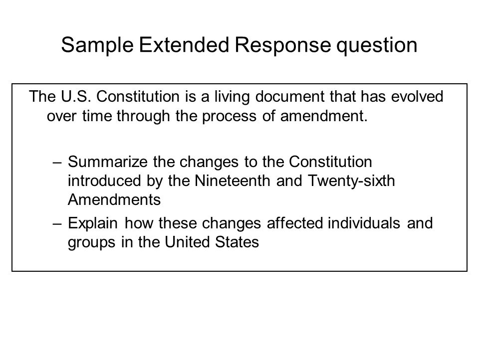 Sample Extended Response question