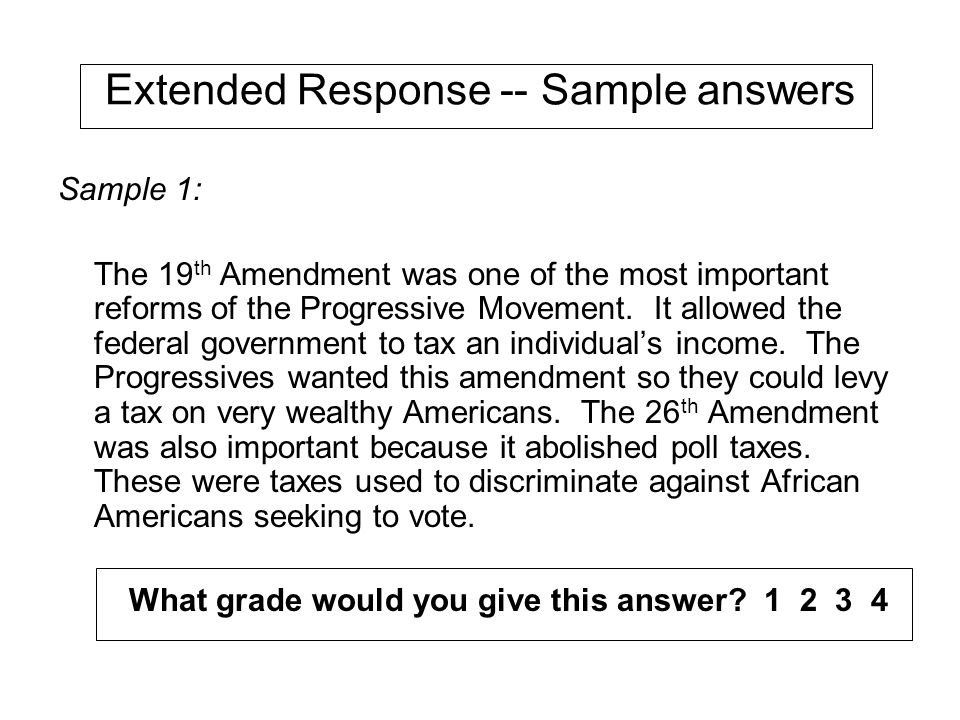 Extended Response -- Sample answers