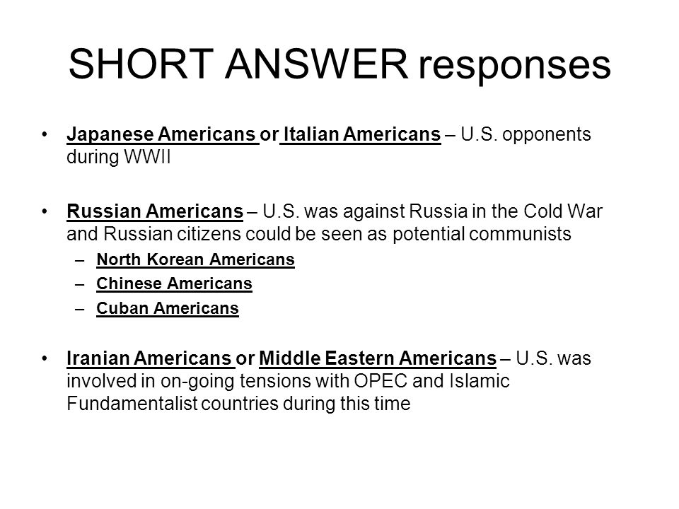 SHORT ANSWER responses