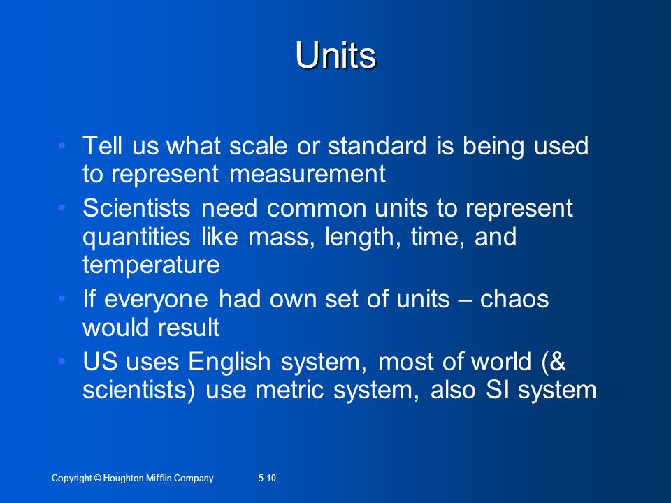 Units Tell us what scale or standard is being used to represent measurement.