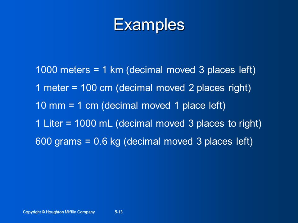 Examples 1000 meters = 1 km (decimal moved 3 places left)