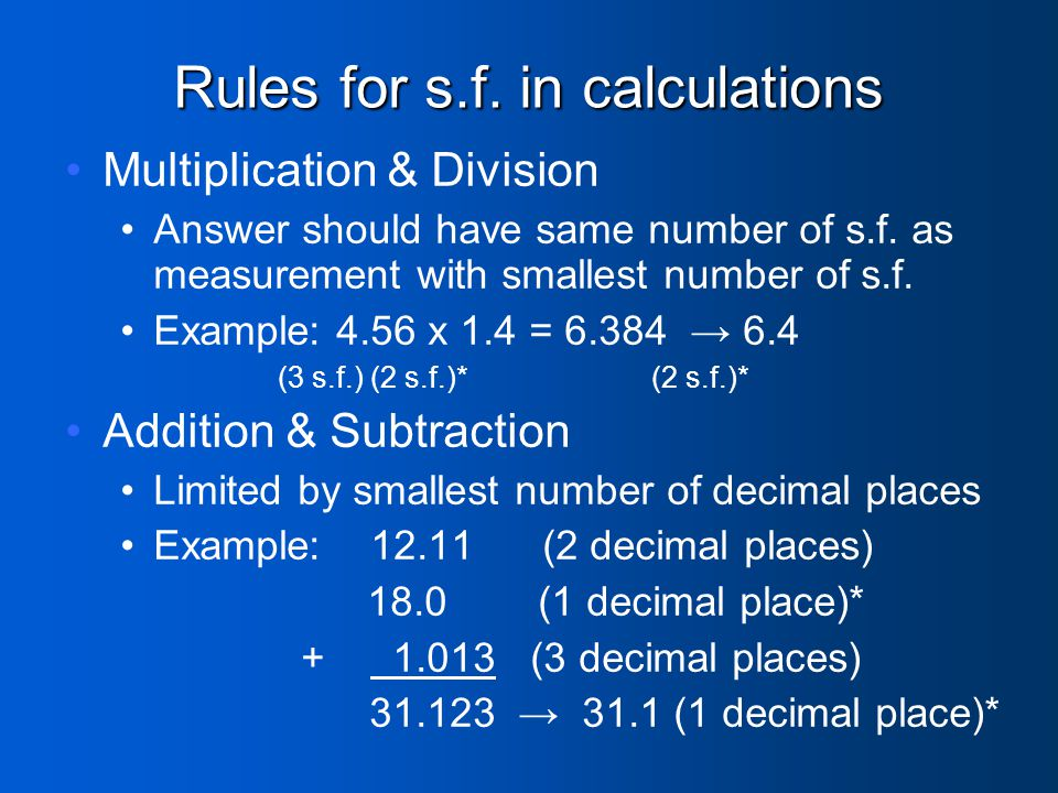 Rules for s.f. in calculations