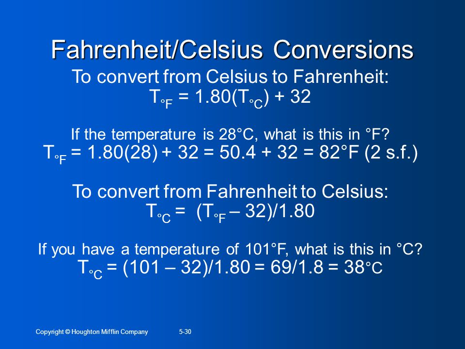 Fahrenheit/Celsius Conversions