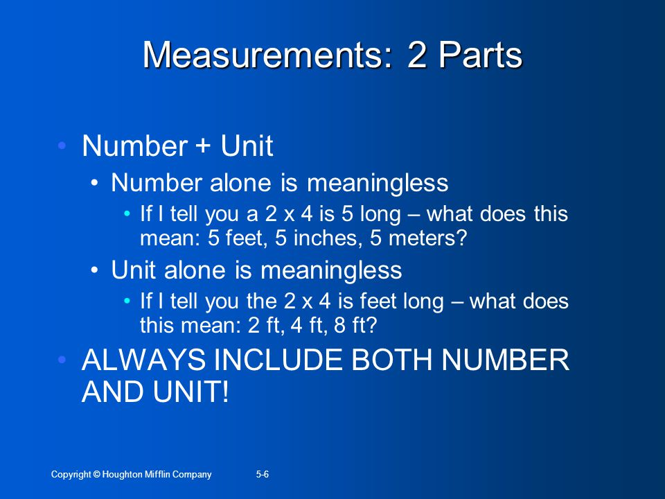 Measurements: 2 Parts Number + Unit