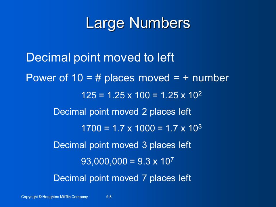 Large Numbers Decimal point moved to left