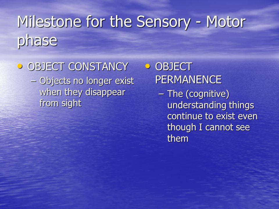 Milestone for the Sensory - Motor phase