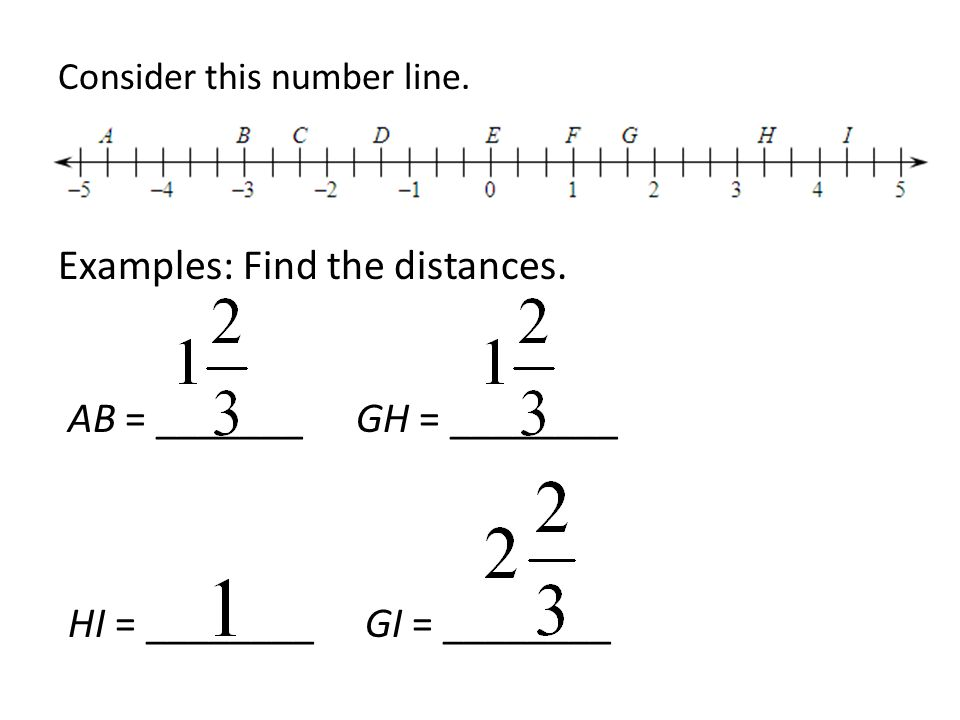 Consider this number line. Examples: Find the distances. AB = _______