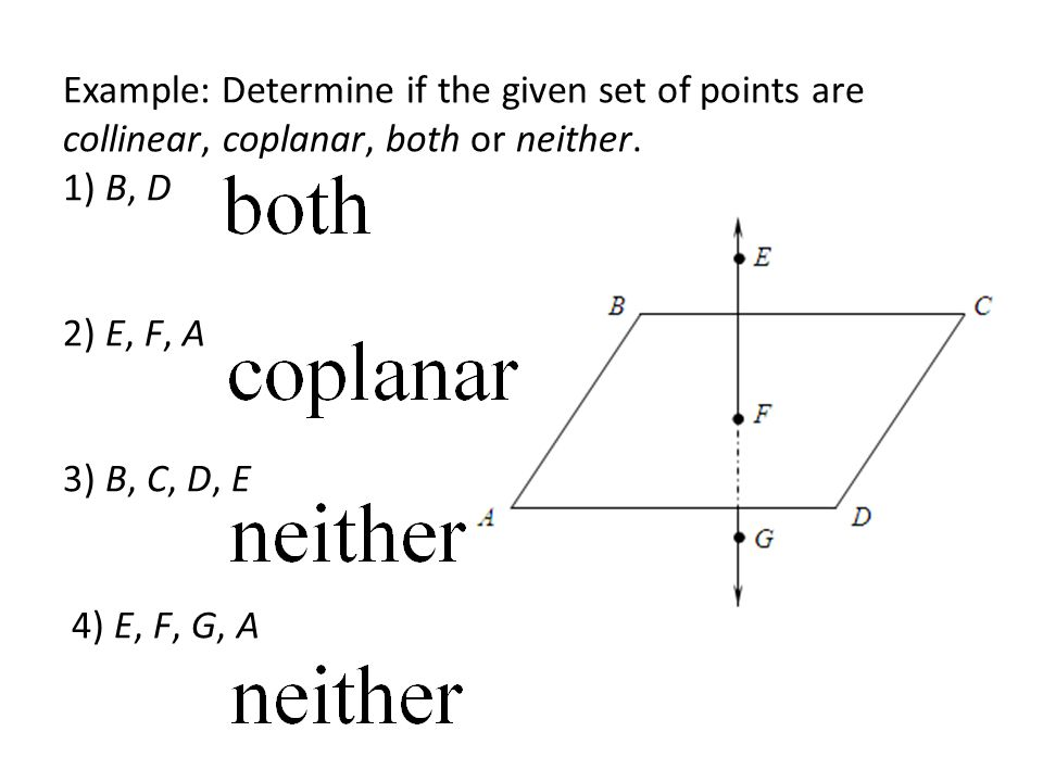 Example: Determine if the given set of points are collinear, coplanar, both or neither.