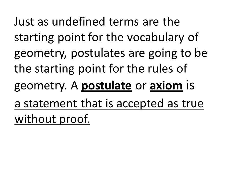 Just as undefined terms are the starting point for the vocabulary of geometry, postulates are going to be the starting point for the rules of geometry. A postulate or axiom is