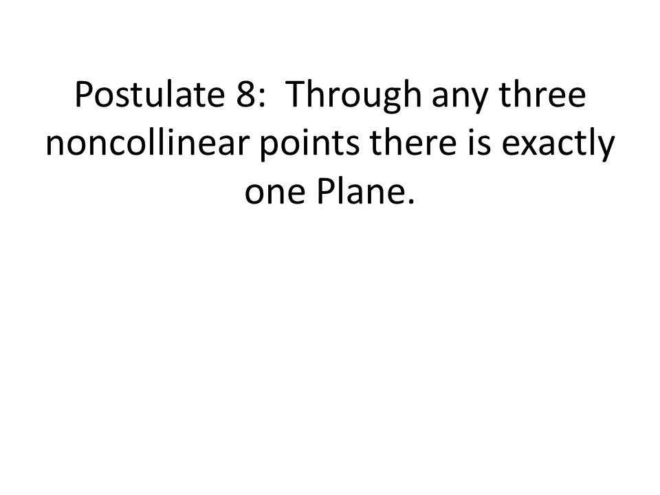 Postulate 8: Through any three noncollinear points there is exactly one Plane.