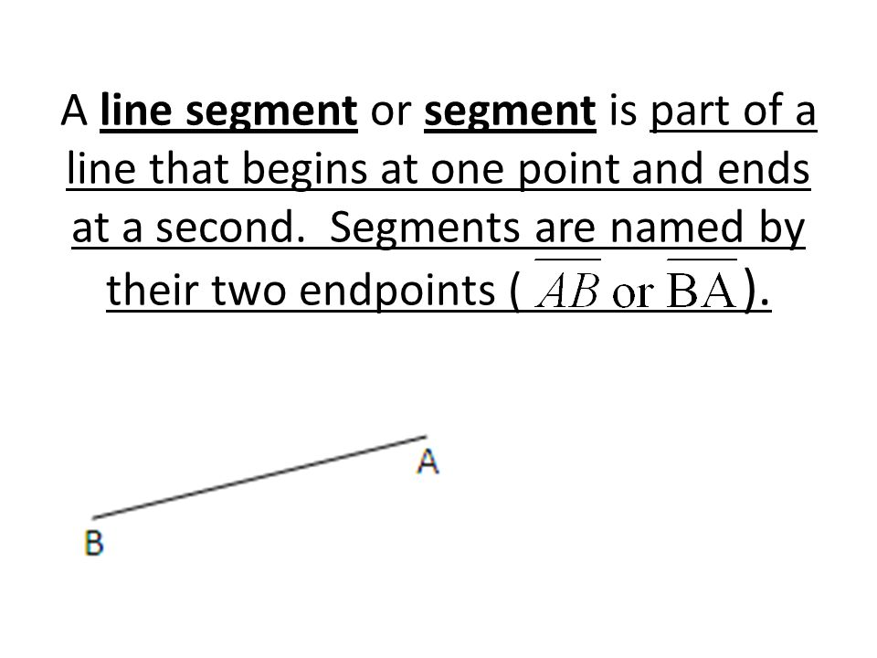 A line segment or segment is part of a line that begins at one point and ends at a second.