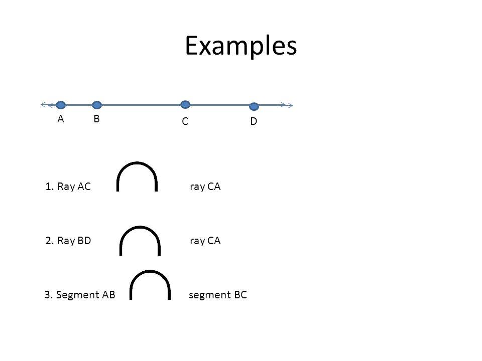 Examples D A B C 1. Ray AC ray CA 2. Ray BD ray CA