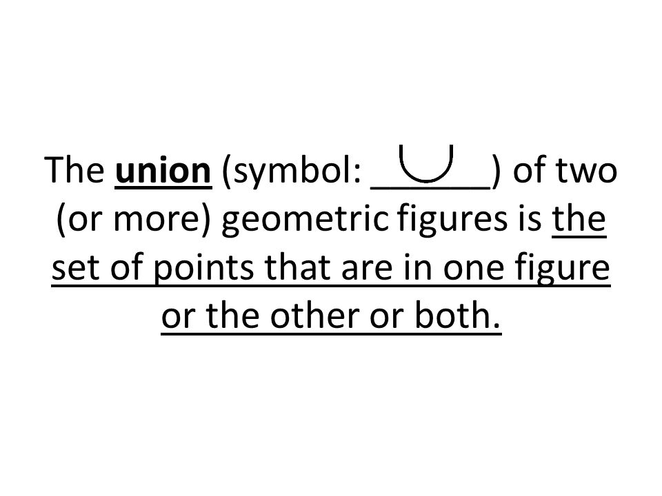 The union (symbol: ______) of two (or more) geometric figures is the set of points that are in one figure or the other or both.