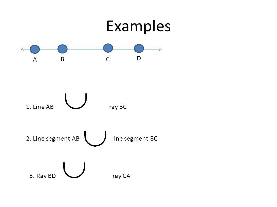 Examples D A B C 1. Line AB ray BC 2. Line segment AB line segment BC