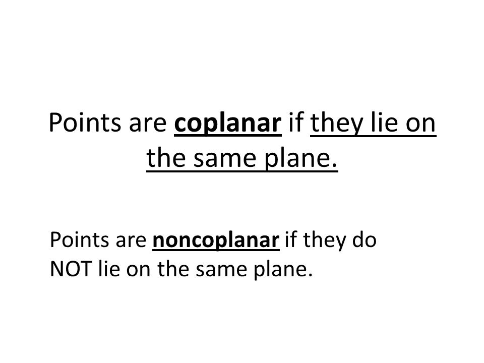 Points are coplanar if they lie on the same plane.