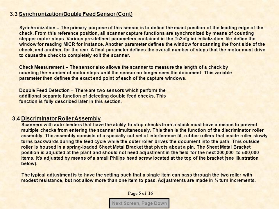 3.3 Synchronization/Double Feed Sensor (Cont)