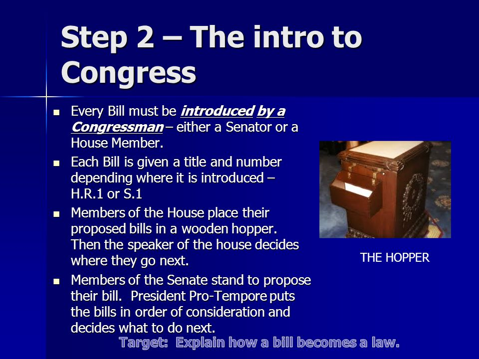 Step 2 – The intro to Congress
