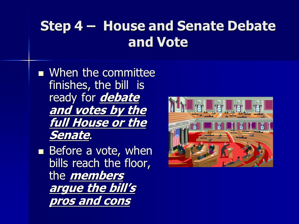 Step 4 – House and Senate Debate and Vote